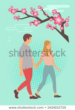 Sakura çiçek karikatür gençler el ele tutuşarak Stok fotoğraf © robuart