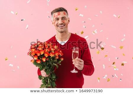 Homem maduro batom cara flores imagem Foto stock © deandrobot
