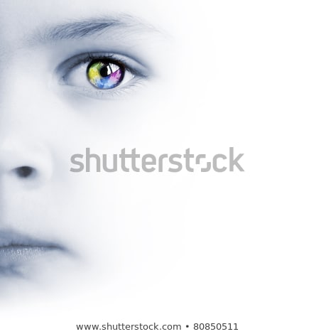 Stock photo: childs face colorful eye and map