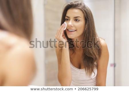 doccia · donna · lavaggio · faccia · felice · sorriso - foto d'archivio © anna_om