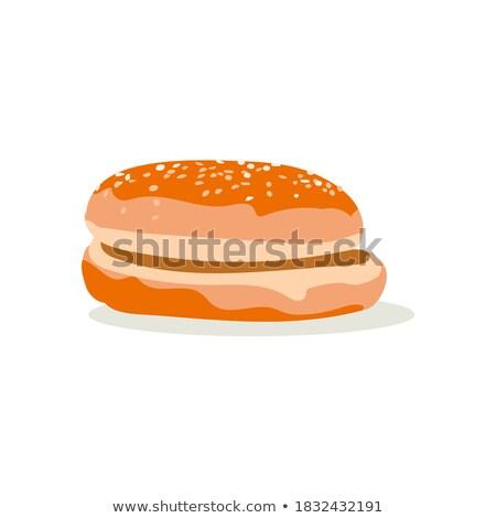 Sanduíche isolado branco café da manhã almoço Foto stock © timbrk