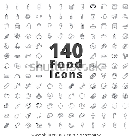 fast · food · iconen · pizza · sandwich · biefstuk · hamburger - stockfoto © cidepix