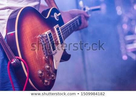 gitáros · zene · kék · hangjegyek · réteg · rendelés - stock fotó © artybloke