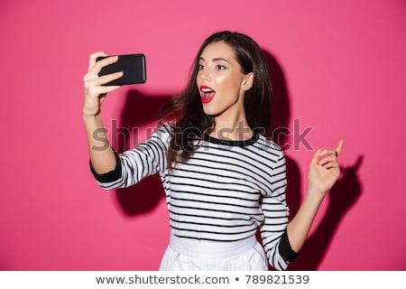 Lány elvesz fotó nő arc boldog Stock fotó © leeser