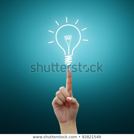 Stock photo: light bulb small on woman hand