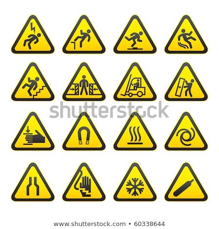 Set triangular warning signs Hazard symbols. vector Stock photo © Ecelop