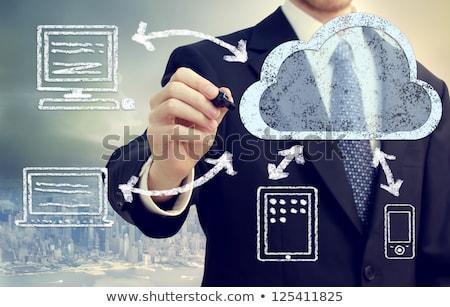 Stock foto: Geschäftsmann · ziehen · Cloud · Computing · Tabelle · Glas · isoliert