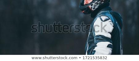 motoros · sisak · út · motorbicikli · izolált · fehér - stock fotó © olira