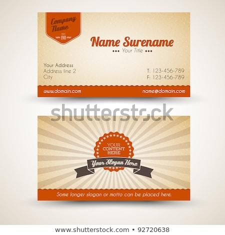 ベクトル · レトロな · ヴィンテージ · カード · 両方 · フロント - ストックフォト © orson