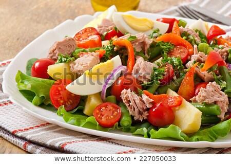 potato salad with tuna fish Stock photo © phbcz