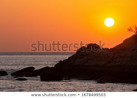 barcos · puesta · de · sol · Tailandia · barco · silueta · Asia - foto stock © petrmalyshev