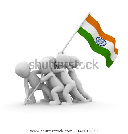 Stock photo: soldier raising indian flag