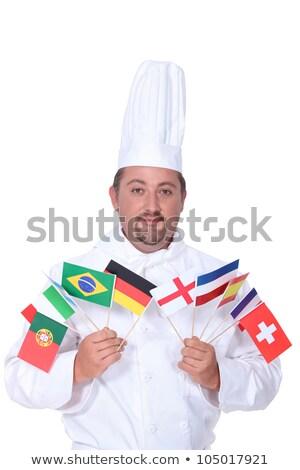 Zdjęcia stock: Kucharz · wybór · flagi · człowiek · włosy
