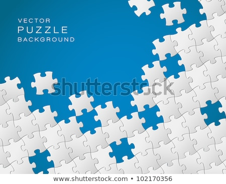 vector blue background made from white puzzle pieces stock photo © orson