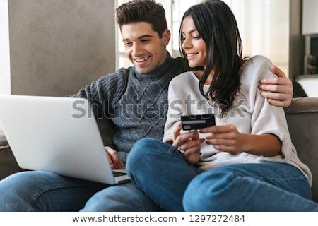 kadın · oturma · odası · dizüstü · bilgisayar · kullanıyorsanız · kredi · kartı · bilgisayar - stok fotoğraf © photography33