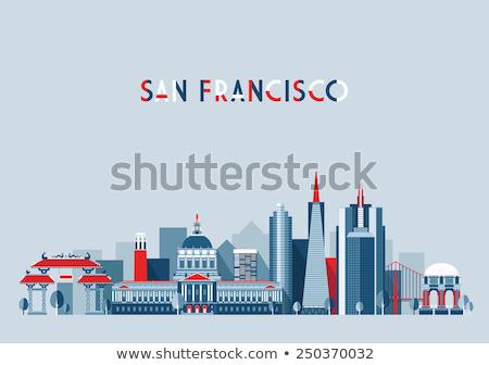 Сток-фото: San Francisco City Skyline At Sunrise Illustration
