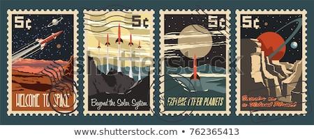 Солнечная система почтовая марка Греция 1980 Vintage напечатанный Сток-фото © sirylok