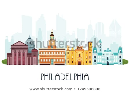 Cartoon Philadelphia skyline stad USA gebouwen Stockfoto © blamb