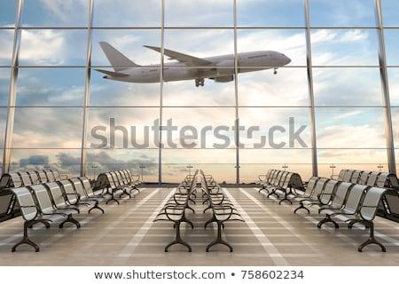 空港 男 機 翼 出発 早朝 ストックフォト © vlad_podkhlebnik