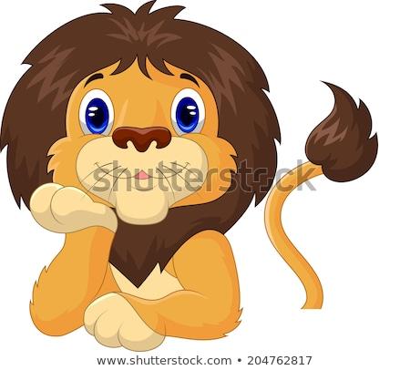 lion with blank sign stock photo © dagadu