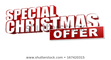 xmas discount red white banner - letters and block stock photo © marinini