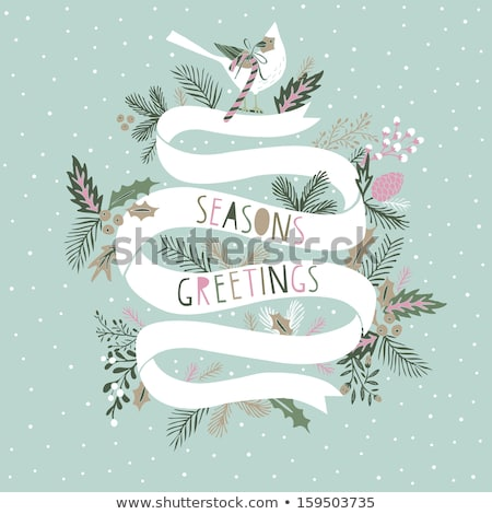Greeting Card with Green Swirls stock photo © liliwhite