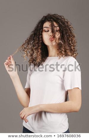 szexi · nő · fehér · póló · lány · haj - stock fotó © pawelsierakowski