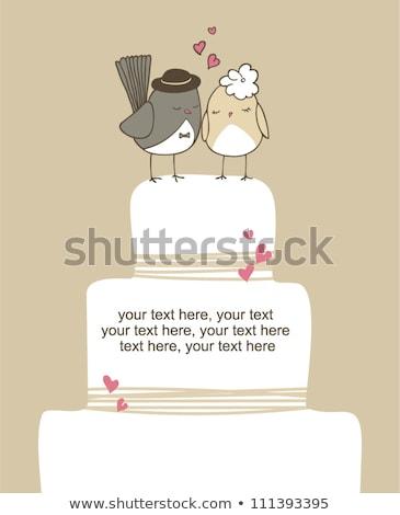 Esküvői torta madarak vektor aranyos virág szív Stock fotó © beaubelle