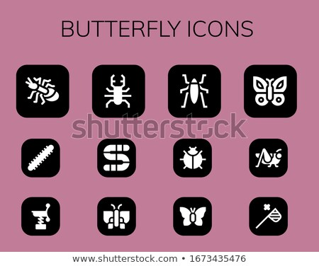 Vector illustration set of 12 butterfly silhouettes. Stock photo © Bytedust