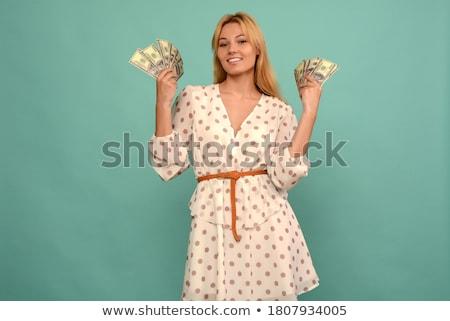 Portré boldog nő tart bankjegyek fiatal nő Stock fotó © wavebreak_media