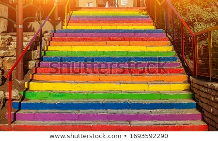 Regenboog vloer interieur hoog kwaliteit 3d render Stockfoto © ixstudio
