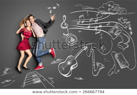 ストックフォト: 愛 · 音楽 · 黒板 · 学校 · フレーム · サウンド