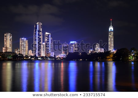Stockfoto: Goud · kust · gebouwen · zwarte · lichten