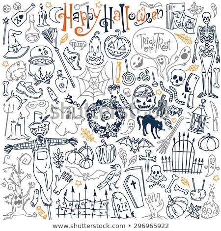 Streich · Halloween · Karte · Hexe · Mädchen - stock foto © carodi