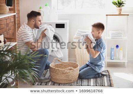 Gyermek háztartás házimunka aranyos porszívó ház Stock fotó © gewoldi