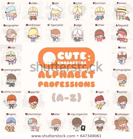 Chibi professions set: Artist Stock photo © Ansy