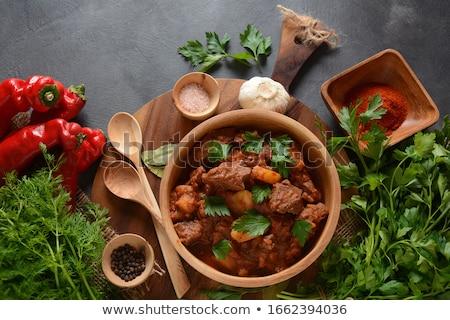 Rundvleesstoofpot voedsel vlees wortel soep maaltijd Stockfoto © M-studio