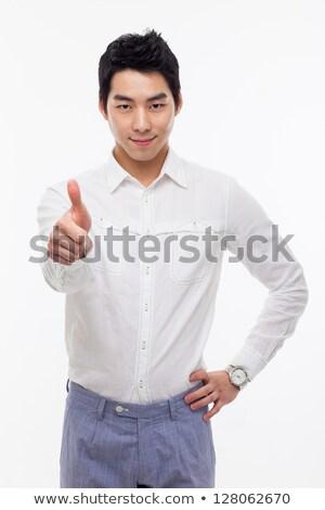 Ok üzletember ázsiai fehér kéz üzletember Stock fotó © elwynn