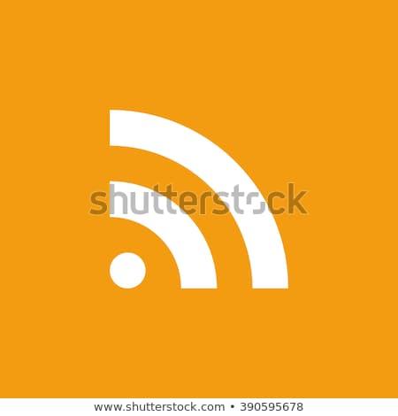 Rss feed app icona piazza riflessione illustrazione Foto d'archivio © make