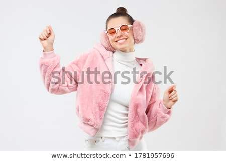 young woman with white fur stock photo © andreypopov