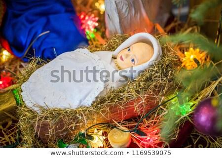 Csecsemő Jézus bölcső piros virág katedrális Stock fotó © faabi