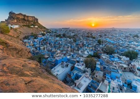 Mavi şehir ev seyahat mimari Stok fotoğraf © ivz