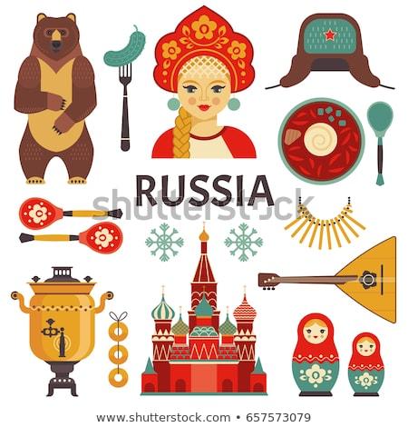 rojo · Rusia · ruso · iconos · símbolo · decoración - foto stock © vectorpro
