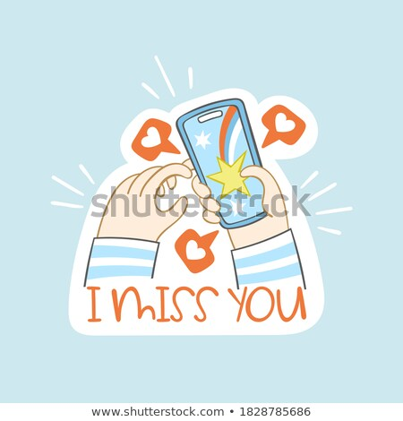 smartphone with hands holding stickers with text stock photo © robuart