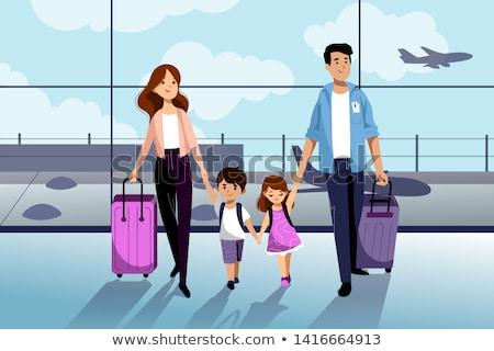 two summer travel girls vector illustration stock photo © carodi