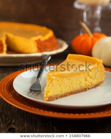 abóbora · bolo · de · queijo · torta · fatia · caseiro · chantilly - foto stock © trala
