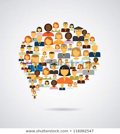 Social networking - speech bubble made of people icons Stock photo © Winner