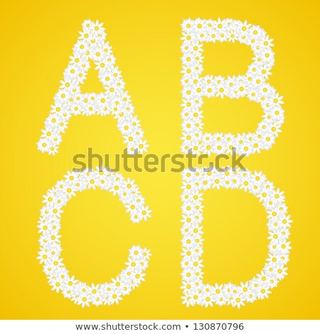 Letters ABCD composed from daisy flowers. Complete alphabet in the gallery. Stock photo © liliwhite