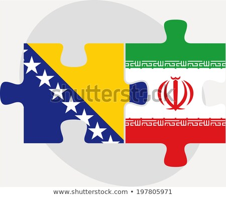 bosnia herzegovinan and iranian flags in puzzle stock photo © istanbul2009