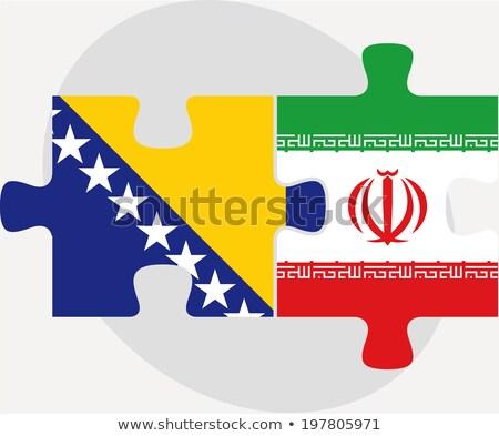 İran bayraklar bilmece yalıtılmış beyaz futbol Stok fotoğraf © Istanbul2009